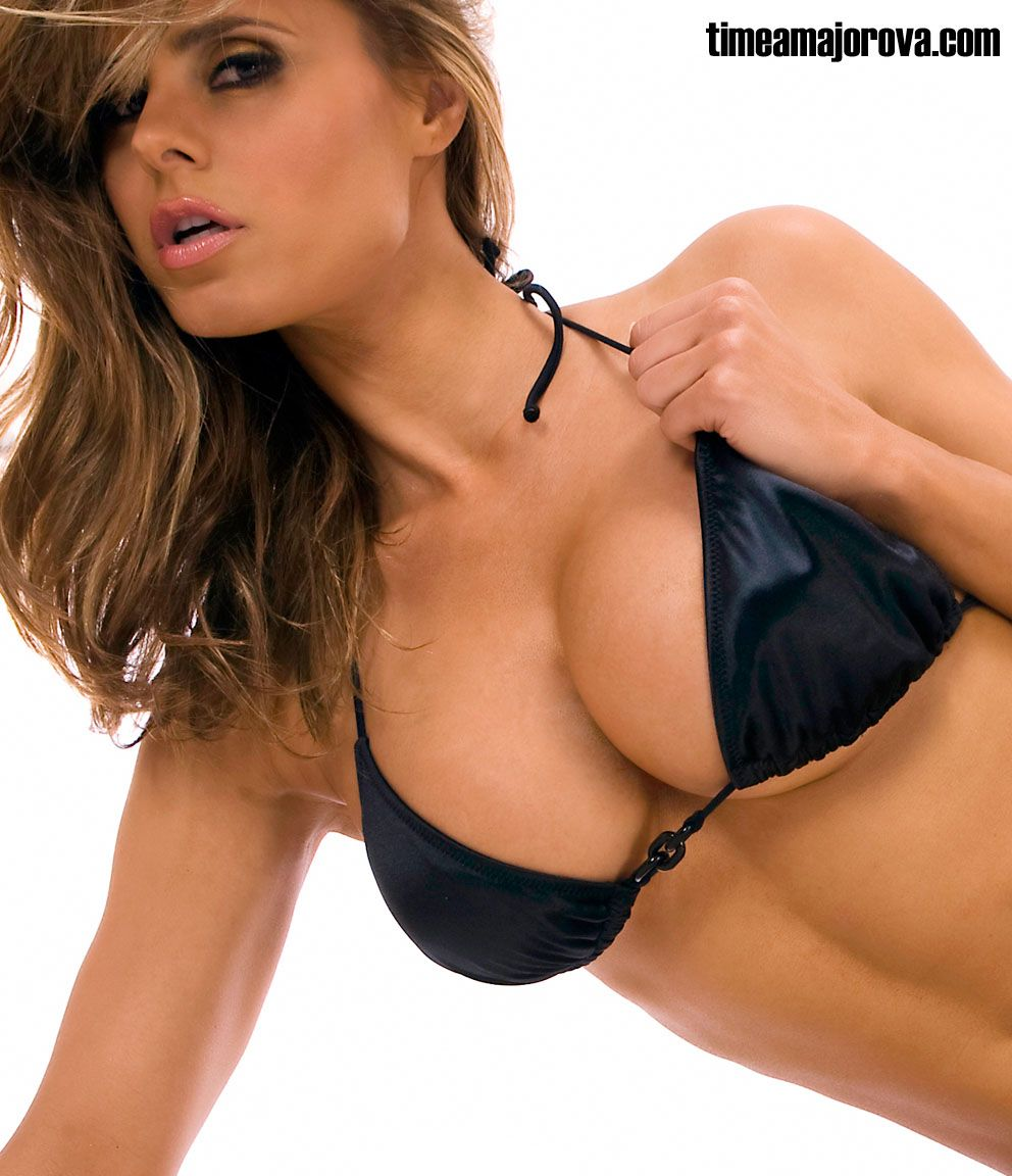 Teasing model in black bikini