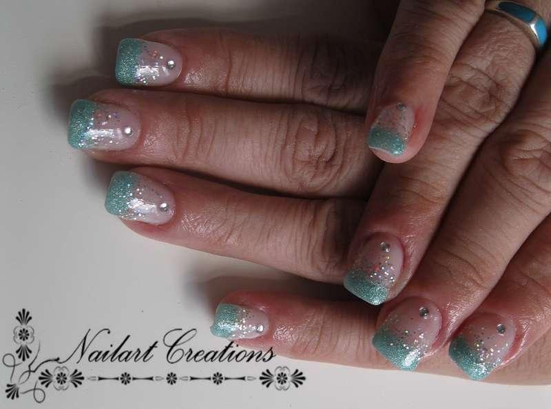 Nailart Creations Gelnagels Mintgroene Glitter Nailart