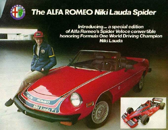 The Alfa Romeo Niki Lauda Spider. Introducing... a special edition of Alfa Romeo's Spider Veloce convertible honoring Formula One Driving Champion Niki Lauda.