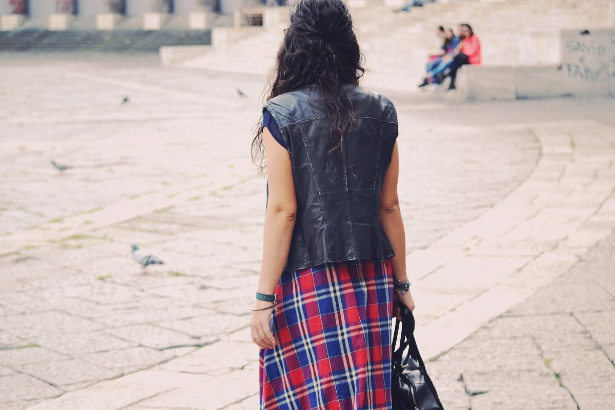 leather jacket tartan