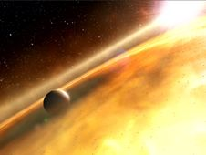 <em class='bbc'>This is an artist&#39;s impression of the<br /> exoplanet, Fomalhaut b, orbiting its sun,<br /> Fomalhaut. </em><br /> <strong class='bbc'>(Credit: ESA; Hubble, M. Kornmesser;<br /> and ESO, L. Cal�ada and L. L. Christensen)<br /> <a href='http://www.nasa.gov/700422main_ESA_Fomalhaut_Exoplanet_Still.png' class='bbc_url' title='External link' rel='nofollow external'>� Larger image</a> </strong>