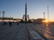 The Soyuz rocket is erected into position<br /> after being rolled out to the launch pad by<br /> train on Dec. 17, 2012, at the Baikonur<br /> Cosmodrome in Kazakhstan. Launch of the<br /> Soyuz rocket is scheduled for Dec. 19 and will<br /> send Expedition 34 Flight Engineer Tom Marshburn<br /> of NASA, Soyuz Commander Roman Romanenko<br /> and Flight Engineer Chris Hadfield of the Canadian<br /> Space Agency on a five-month mission aboard the<br /> International Space Station.<br /> Photo credit: NASA/Carla Cioff
