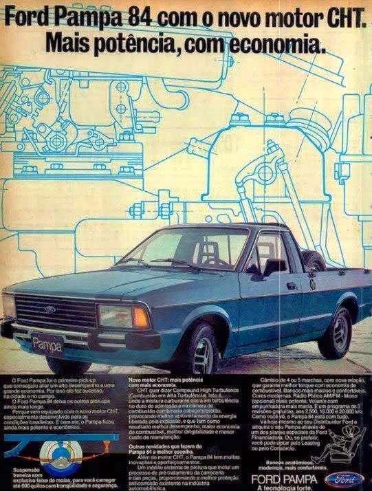 Ford Pampa 1984 com o novo motor CHT. Mais potência, com economia.