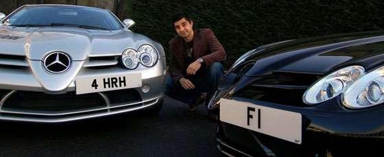 """Afzal Kahn """"4 HRH"""" and """"F1"""" plates"""