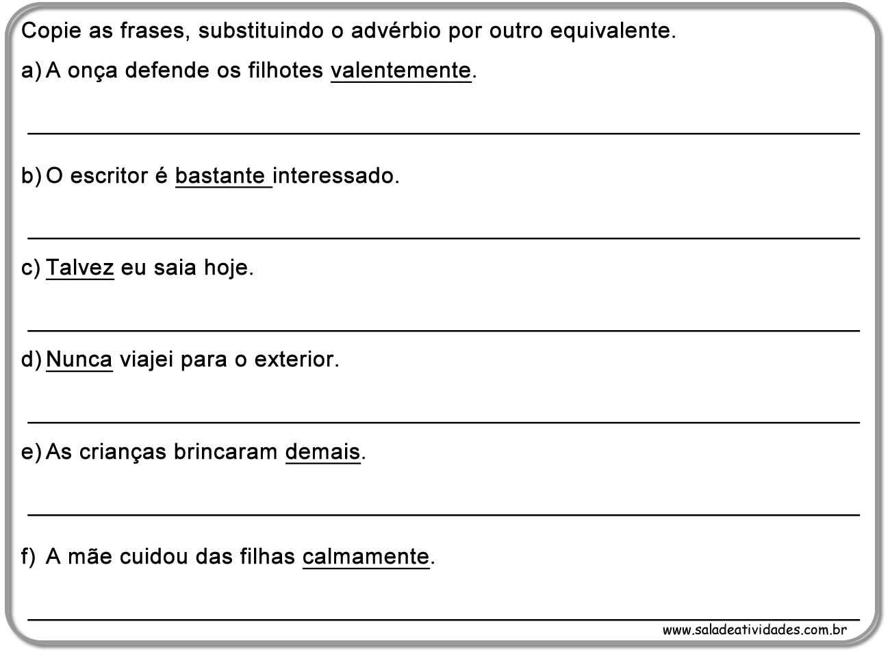 Atividades De Adv Rbio Prontas Para Imprimirsala De Atividades -> Atividades Com Substantivos Simples E Composto 4 Ano