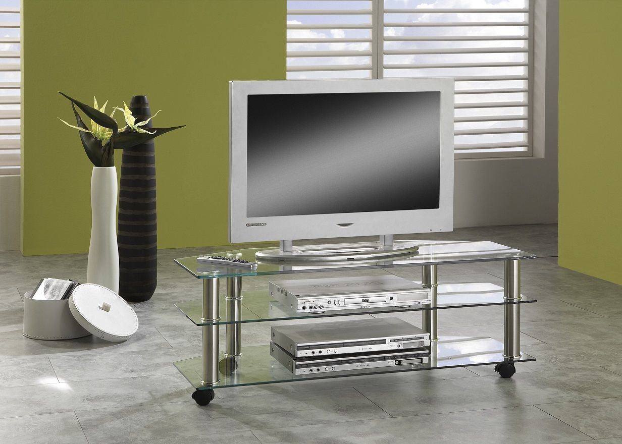 tv tisch mit rollen phonowagen fernsehtisch glas tv rack hifi tisch rollbar ebay. Black Bedroom Furniture Sets. Home Design Ideas