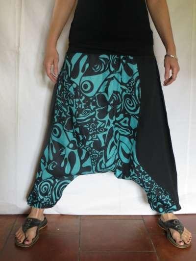 Sarouel ethnique vetements hippie baba cool patchwork noir turquoise mixte ebay - Vetements hippie baba cool ...
