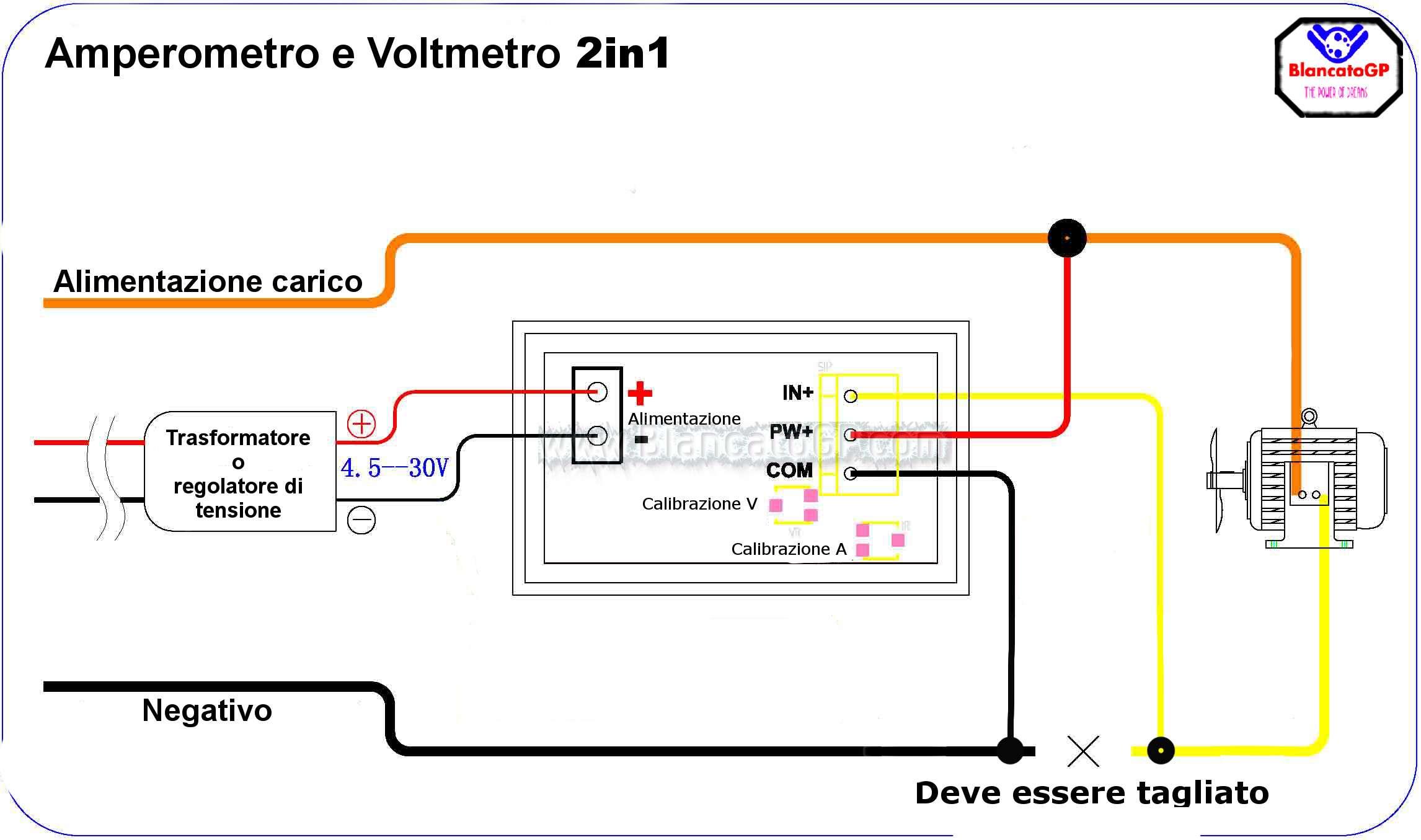 Schema Elettrico Voltmetro Per Auto : In voltmetro v e amperometro a led rosso blu