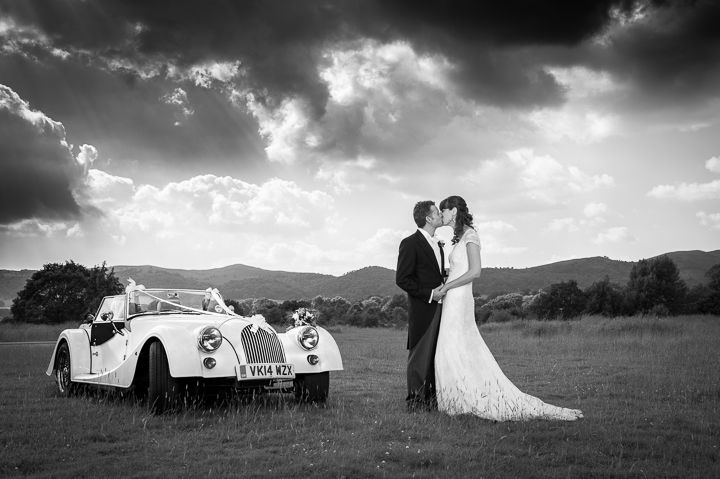Morgan car and Malvern Hills wedding photo