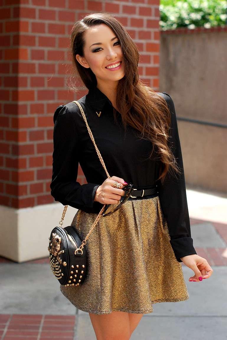 fashion fashion blogger hapatime california fashion fashion trends 2013 hapa happa gold circle skirt gold tweed keyhole top