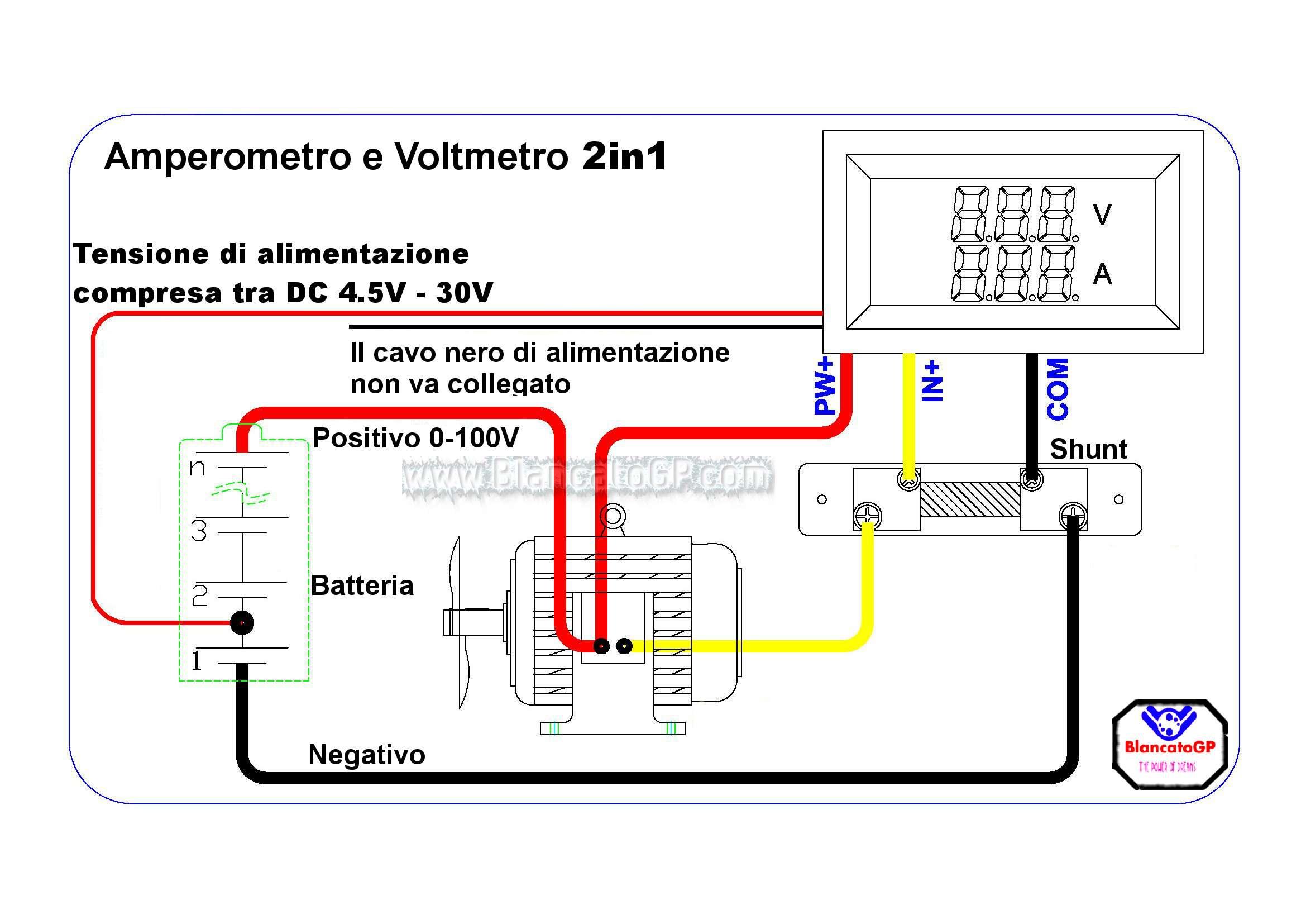 Schema Elettrico Voltmetro Per Auto : In voltmetro v e amperometro a con shunt auto