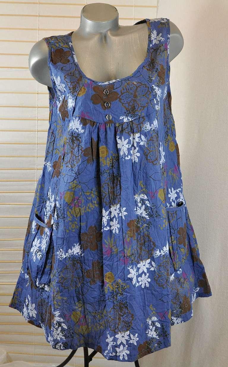 neu sommer strand tunika kleid a form gebl mt blau 46 48 ebay. Black Bedroom Furniture Sets. Home Design Ideas