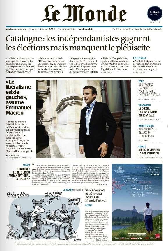 Le Monde et Supplément du Mardi 28 Septembre 2015