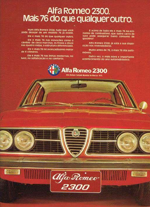 Alfa Romeo 2300. Campeã Mundial de Marcas 1975. Mais 1976 do que qualquer outro.