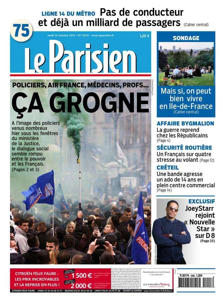 Le Parisien + Journal de Paris du Jeudi 15 Octobre 2015