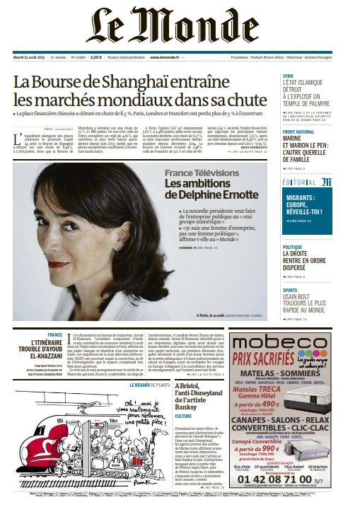 Le Monde du Mardi 25 Août 2015