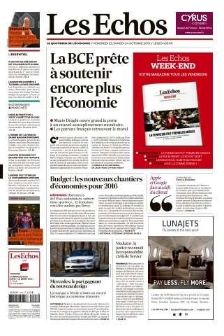 Les Echos du Vendredi 23 & Samedi 24 Octobre 2015