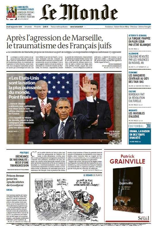 Le Monde de Jeudi 14 Janvier 2016