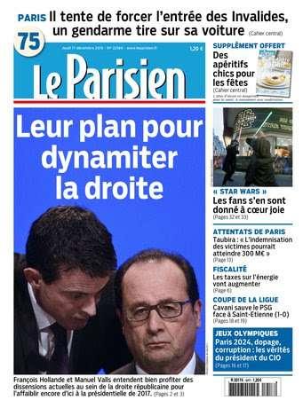 Le Parisien + Journal de Paris du Jeudi 17 décembre 2015