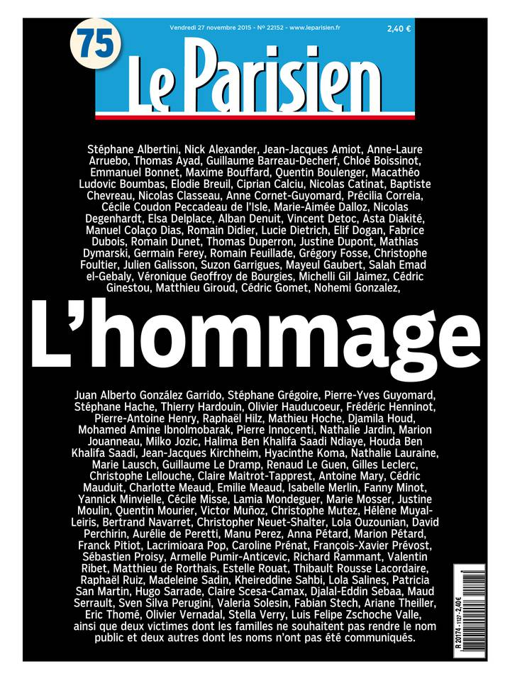 Le Parisien + Journal de Paris du Vendredi 27 Novembre 2015
