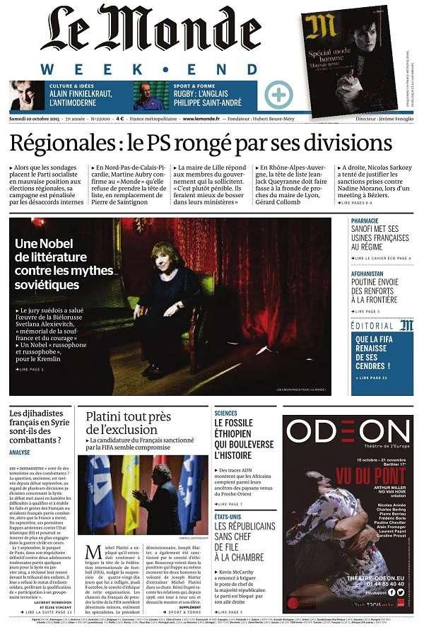Le Monde Weekend et 3 Suppléments du Samedi 10 Octobre 2015