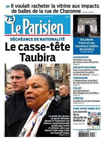 Le Parisien + Journal de Paris du Lundi 11 Janvier 2016