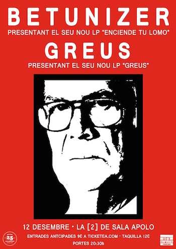 Betunizer + Greus en Barcelona - cartel