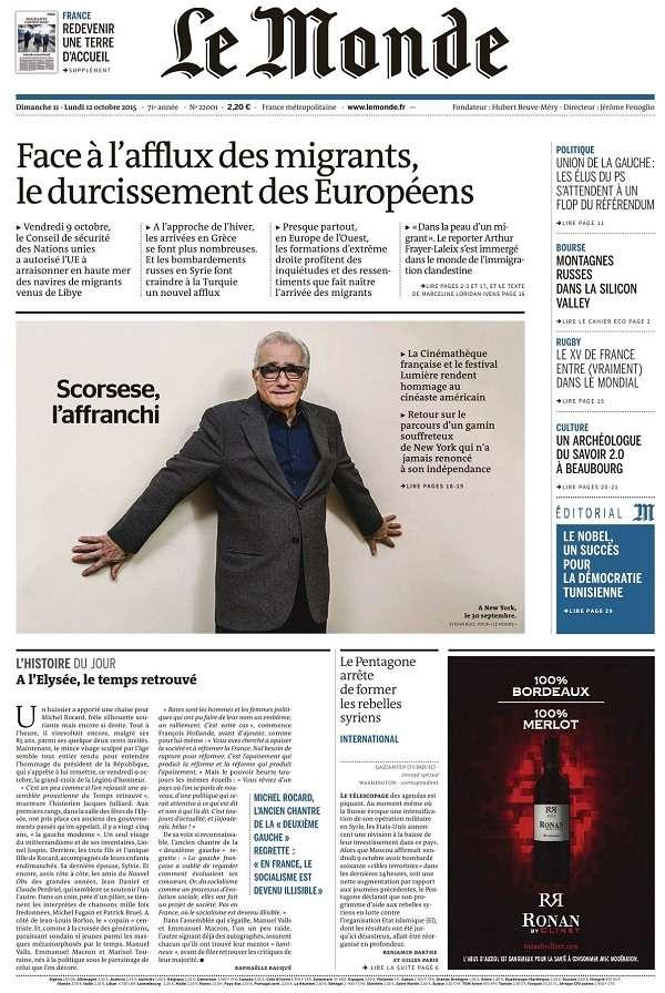 Le Monde et 2 Suppléments du Dimanche 11 et Lundi 12 Octobre 2015