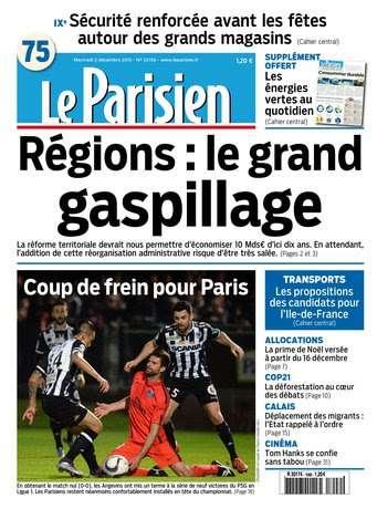 Le Parisien + Journal de Paris du Mercredi 2 décembre 2015