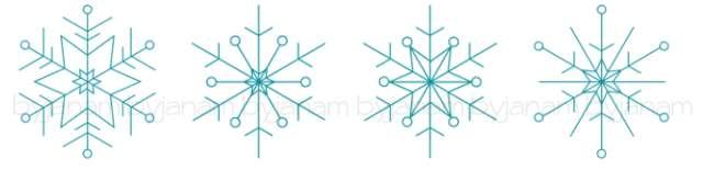 4 verschiedene Schneeflocken