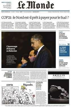 Le Monde + 2 suppléments du Mardi 1 décembre 2015