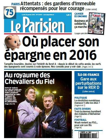 Le Parisien du Lundi 25 Janvier 2016