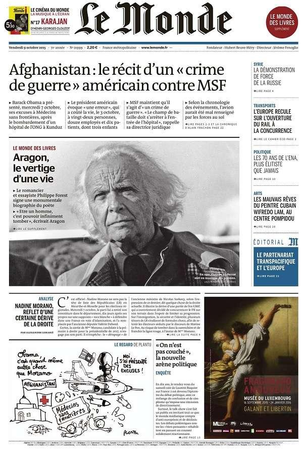 Le Monde et 2 Suppléments du Vendredi 9 Octobre 2015