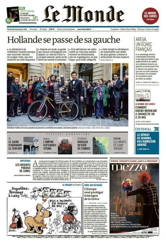Le Monde + 2 suppléments du Vendredi 29 Janvier 2016