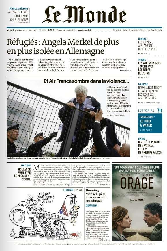 Le Monde et 2 Suppléments du Mercredi 7 Octobre 2015