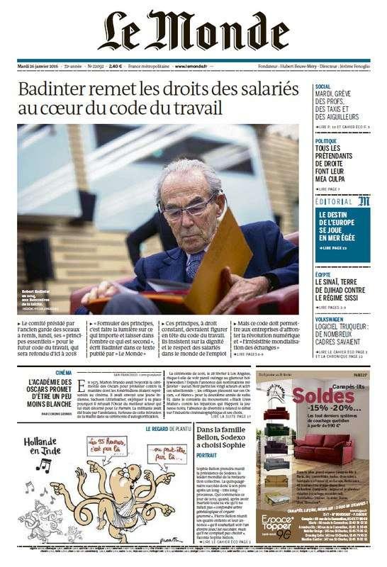 Le Monde Du Mardi 26 Janvier 2016
