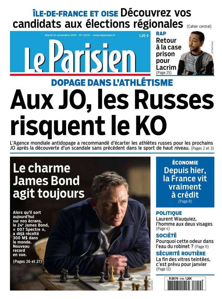 Le Parisien + Journal de Paris du Mardi 10 Novembre 2015