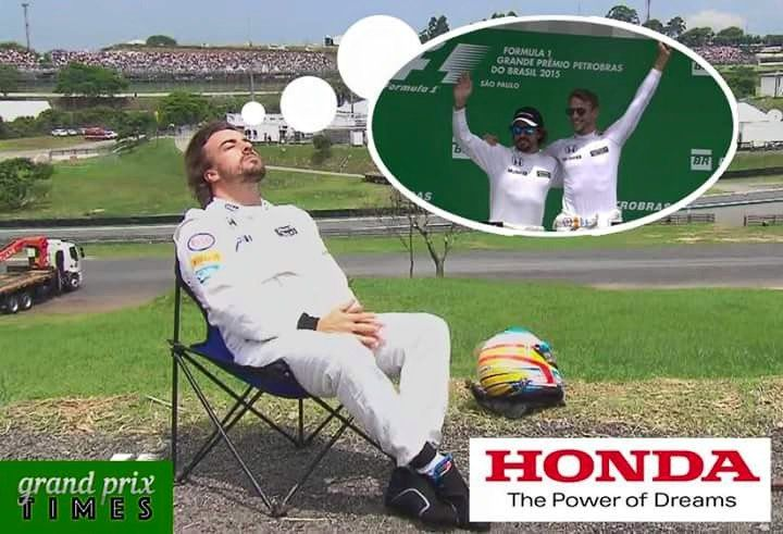 F1 2015 Brazil Fernando Alonso McLaren Honda. The Power Of Dreams.