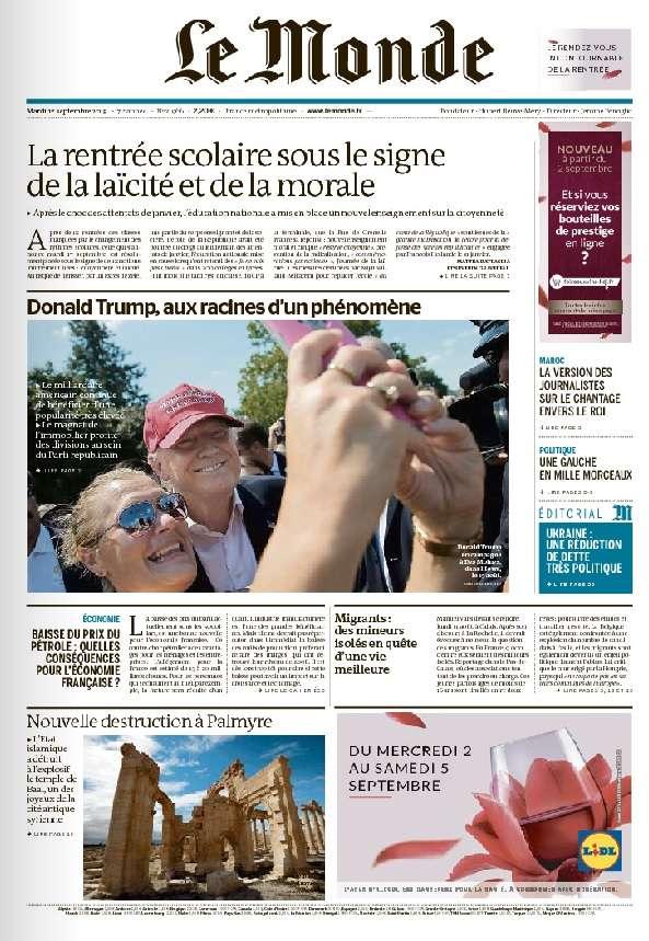 Le Monde du Mardi 1 Septembre 2015