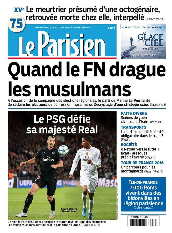 Le Parisien + Journal de Paris du Mercredi 21 Octobre 2015