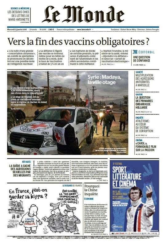 Le Monde du Mercredi 13 Janvier 2016