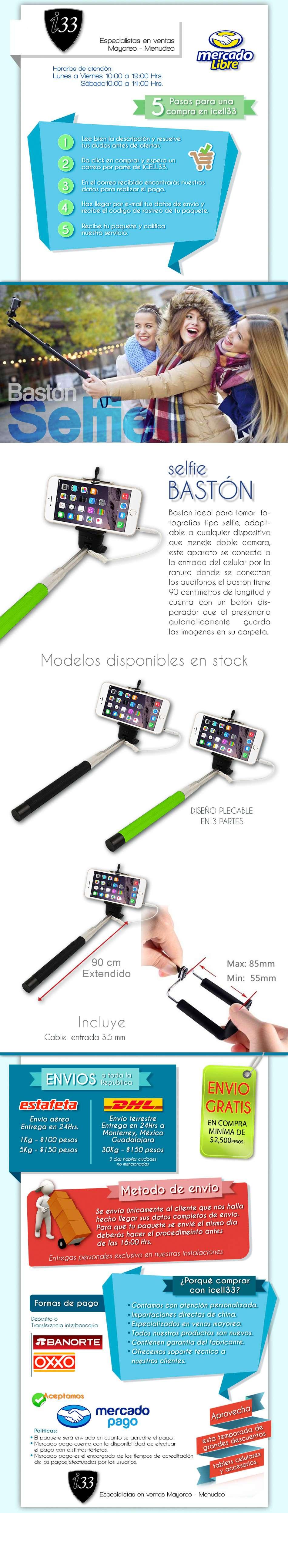 selfie stick monopie iphone samsumg y lg distintos colores en merca. Black Bedroom Furniture Sets. Home Design Ideas