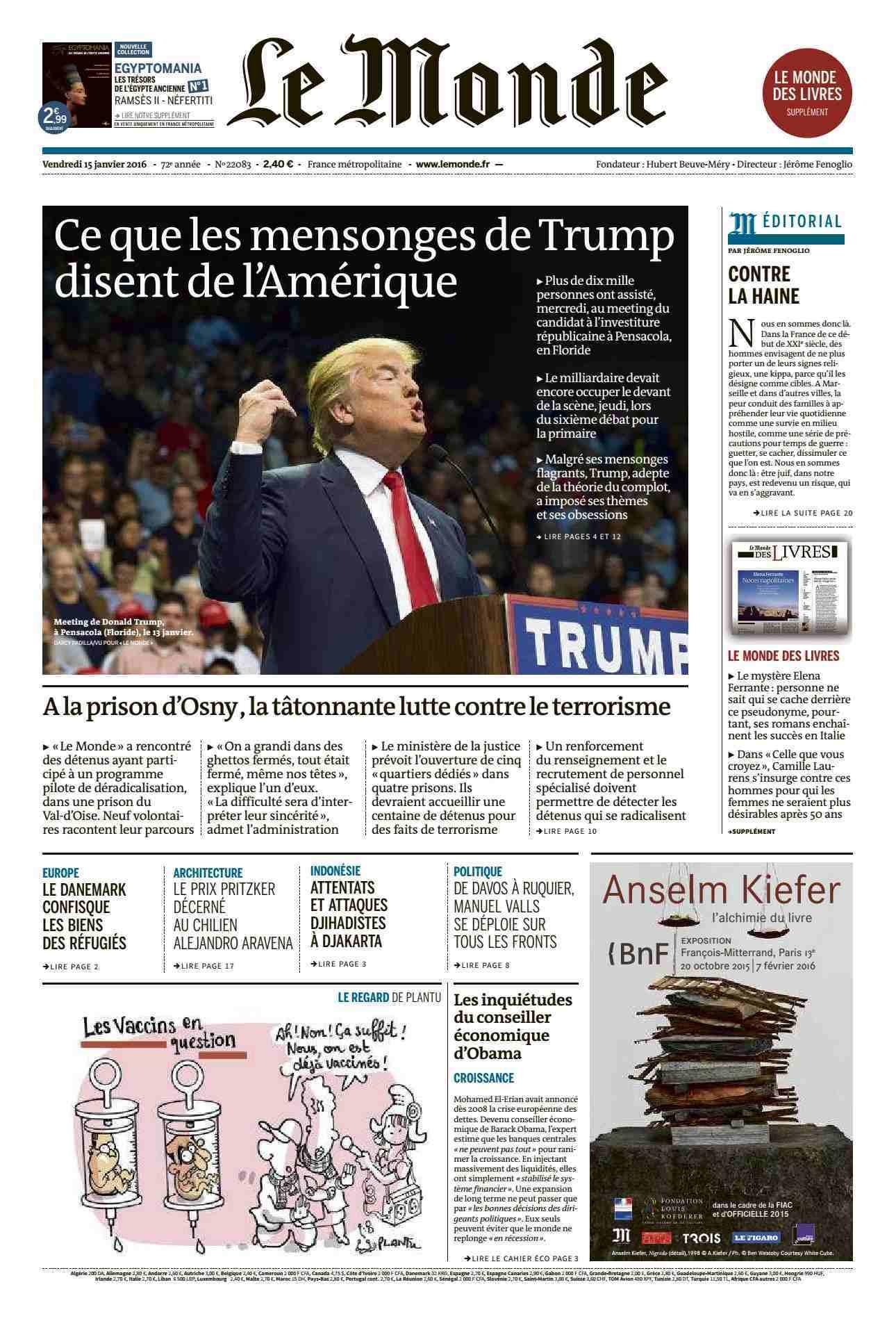 Le Monde du Vendredi 15 Janvier 2016