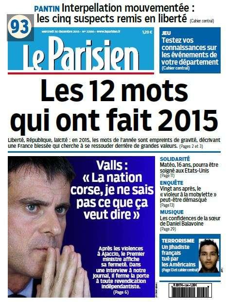 Le Parisien du Mercredi 30 Décembre 2015