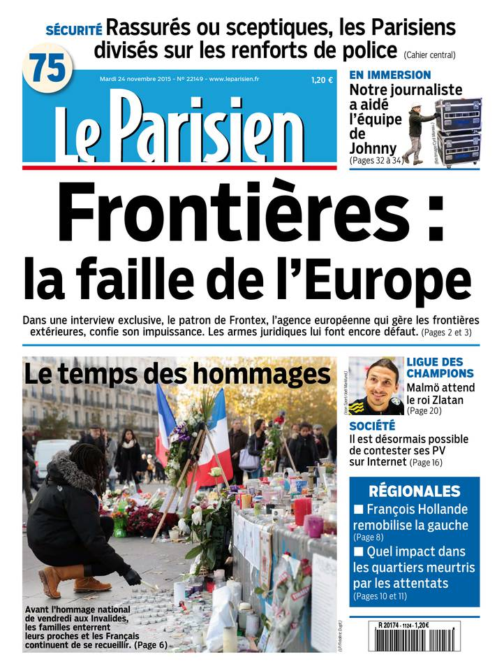 Le Parisien + Journal de Paris du Mardi 24 Novembre 2015