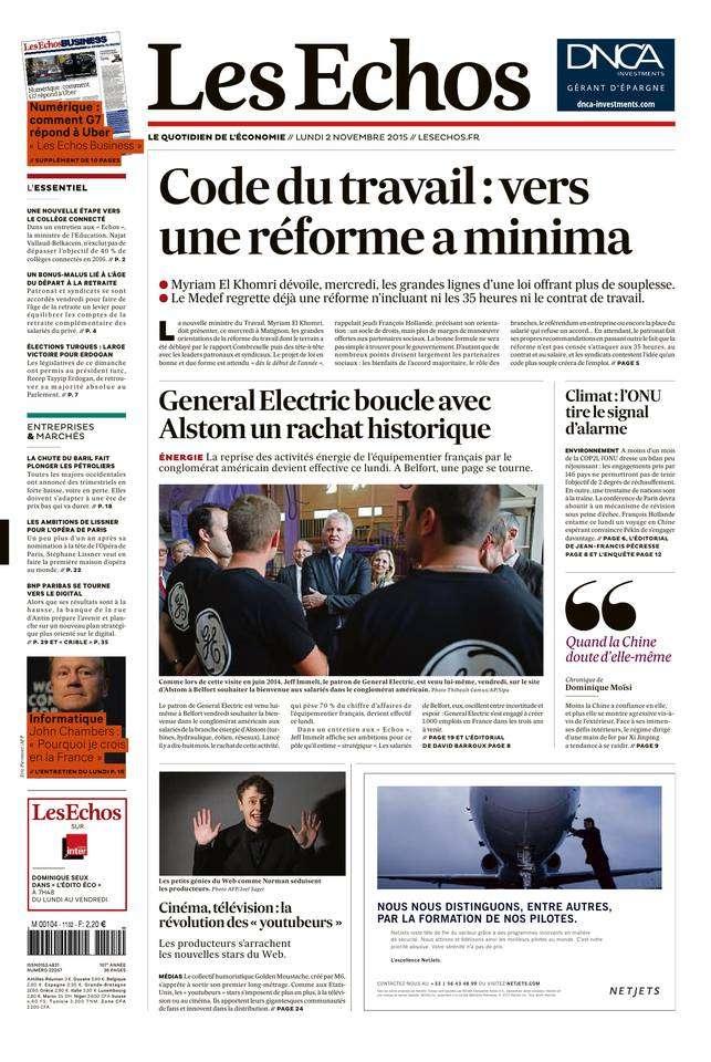 Les Echos du Lundi 02 Novembre 2015