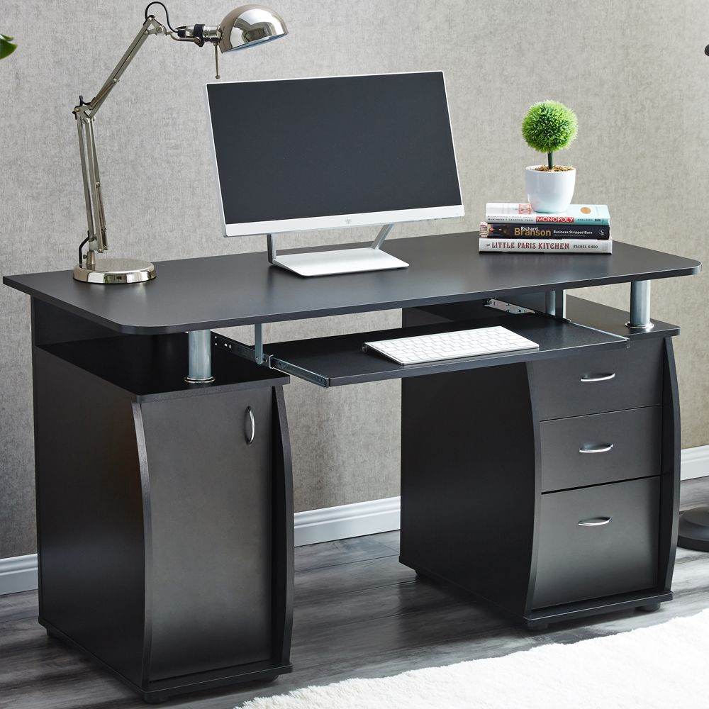 raygar deluxe computer desk with cabinet and 3 drawers for home office pc table ebay. Black Bedroom Furniture Sets. Home Design Ideas