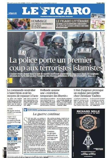 Le Figaro du Jeudi 19 Novembre 2015