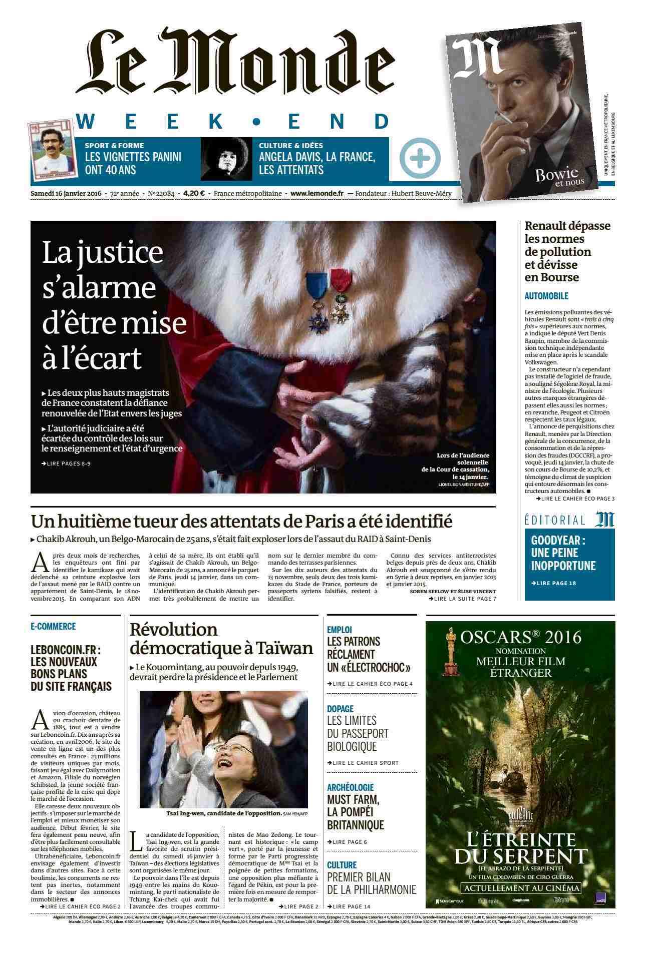 Le Monde Weekend et 4 Suppléments du Samedi 16 janvier 2016