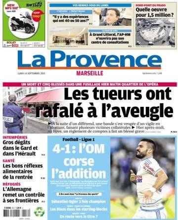La Provence Marseille du lundi 14 septembre 2015